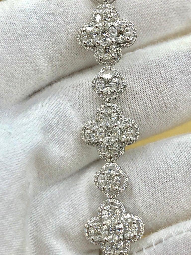 Emilio Jewelry 7.50 Carat Diamond Flower Bracelet For Sale 2