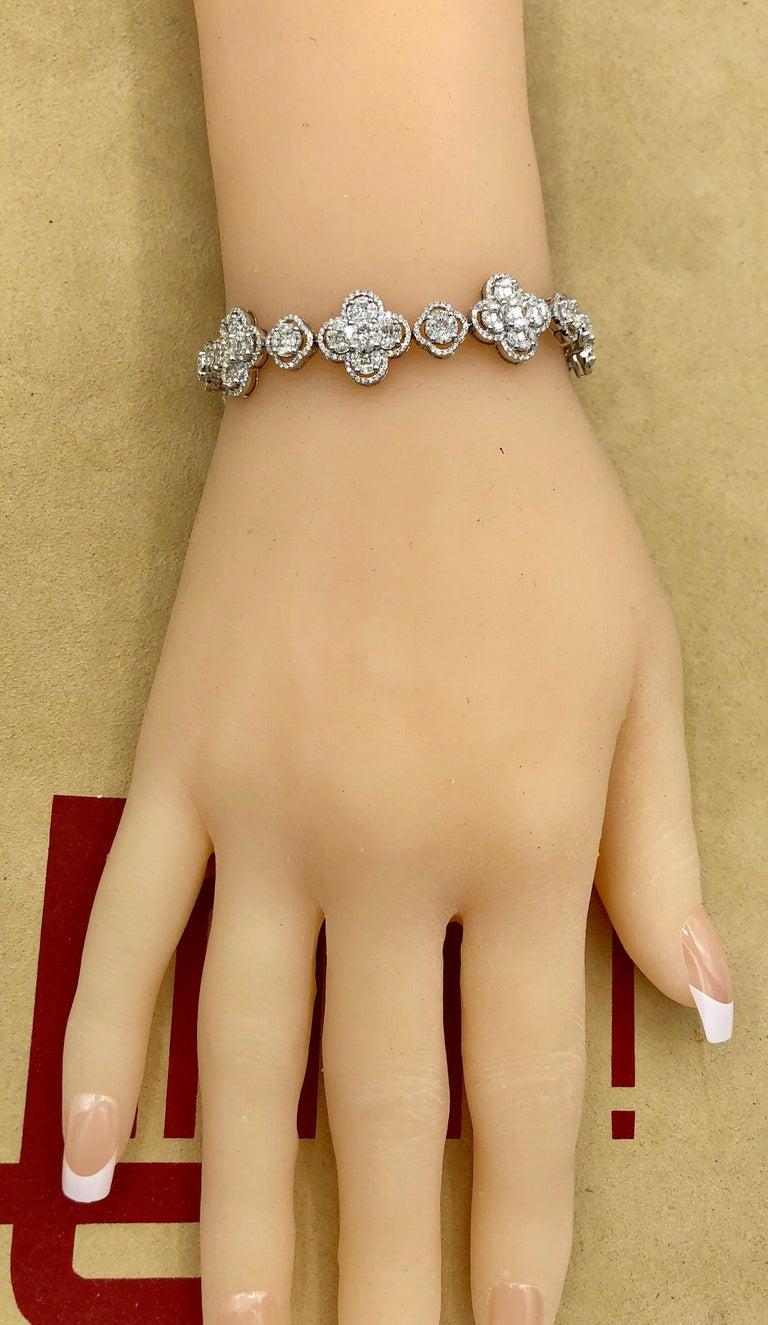 Emilio Jewelry 7.50 Carat Diamond Flower Bracelet For Sale 4