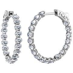 Emilio Jewelry 7.60 Carat Platinum Oval Shaped Diamond Hoop Earrings