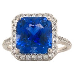 Emilio Jewelry 7.69 Carat AGL Certified Radiant Sapphire Diamond Ring