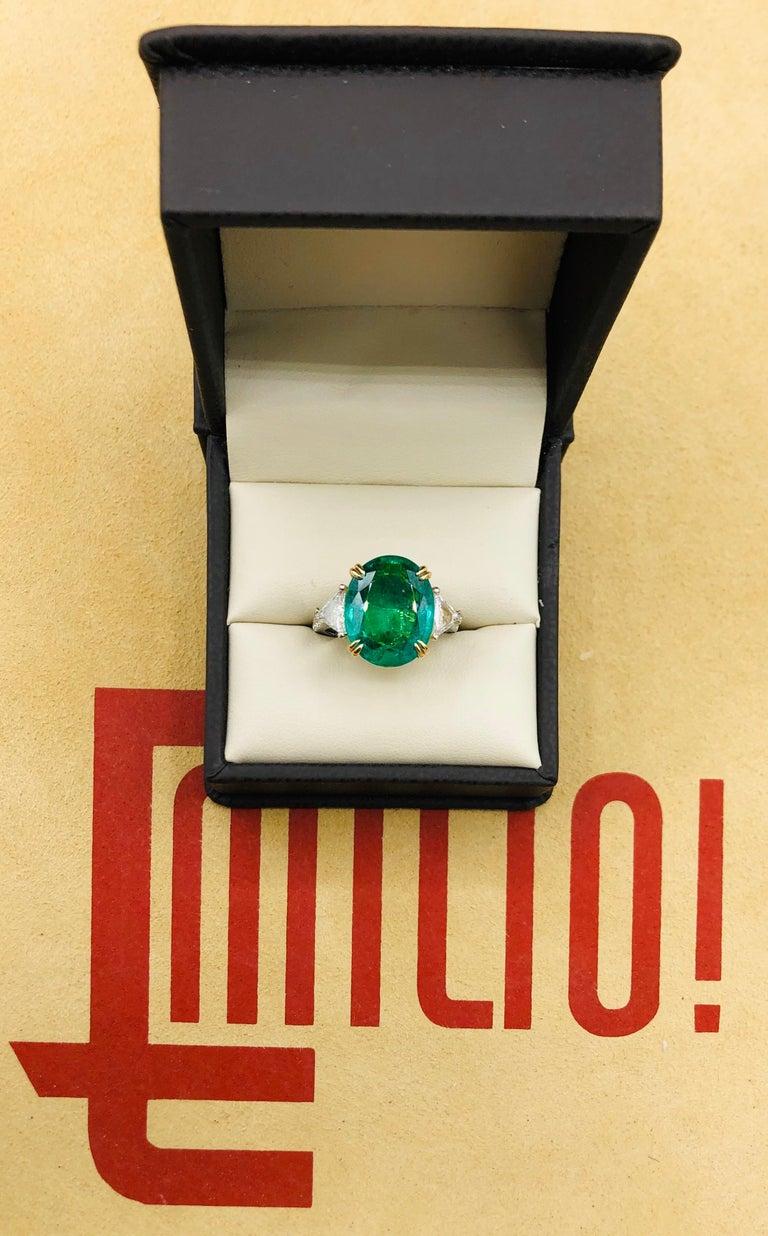 Emilio Jewelry 7.82 Carat Certified Emerald Diamond Ring For Sale 6
