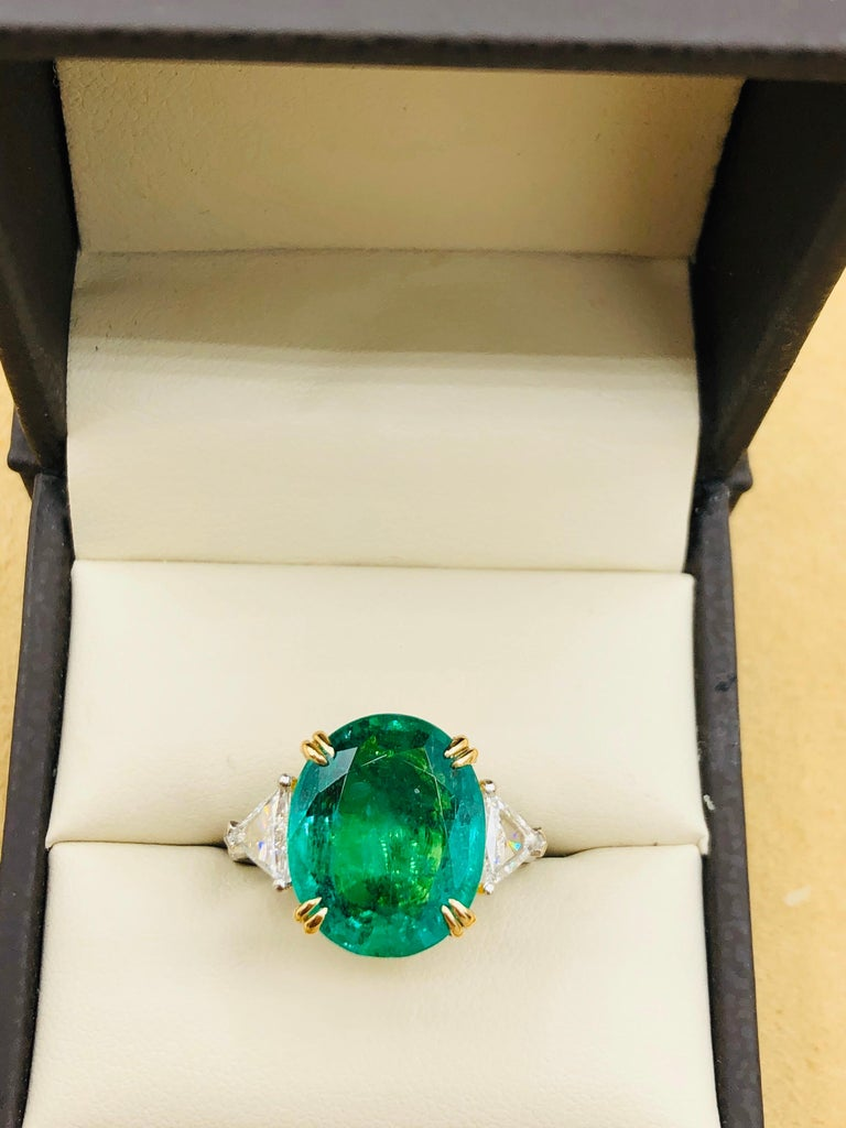 Emilio Jewelry 7.82 Carat Certified Emerald Diamond Ring For Sale 7