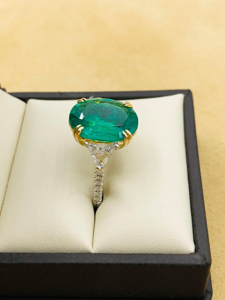 Emilio Jewelry 7.82 Carat Certified Emerald Diamond Ring For Sale 8