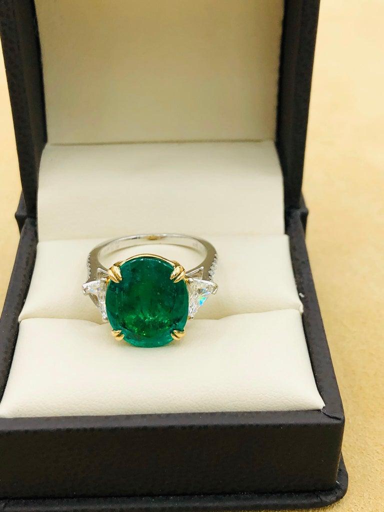 Emilio Jewelry 7.82 Carat Certified Emerald Diamond Ring For Sale 9