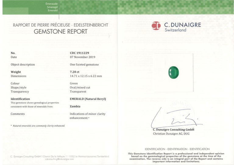 Showcasing an oval cut 7.20ct Genuine Emerald certified by C.Dunaigre as Zambian origin. Based on emerald grading methodology the clarity of the emerald is Internally flawless-vvs1 with no imperfections visible to the naked eye. The emeralds are