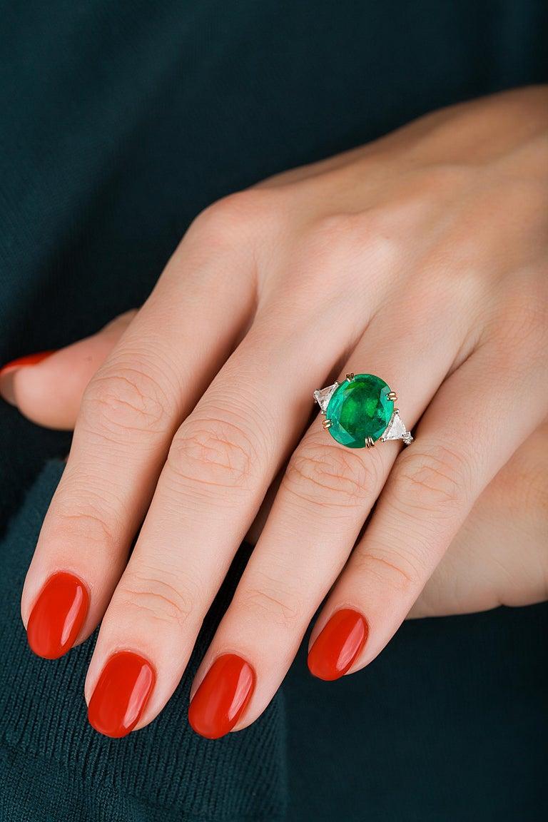 Emilio Jewelry 7.82 Carat Certified Emerald Diamond Ring For Sale 1