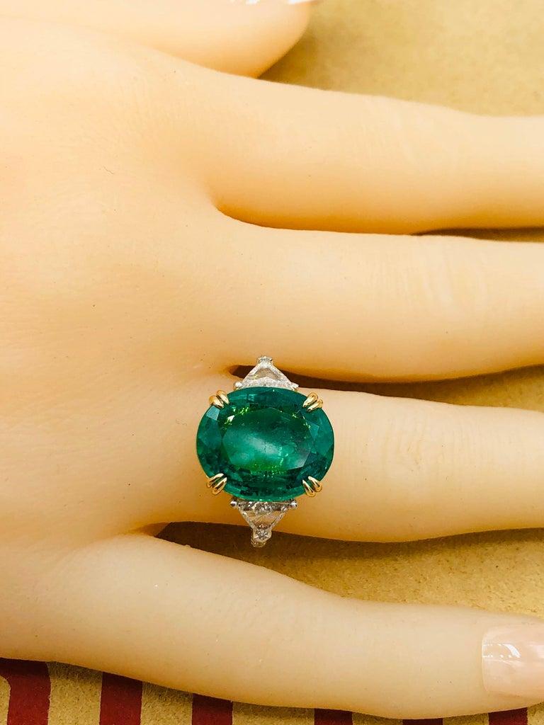 Emilio Jewelry 7.82 Carat Certified Emerald Diamond Ring For Sale 2