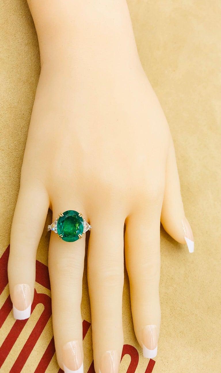 Emilio Jewelry 7.82 Carat Certified Emerald Diamond Ring For Sale 3
