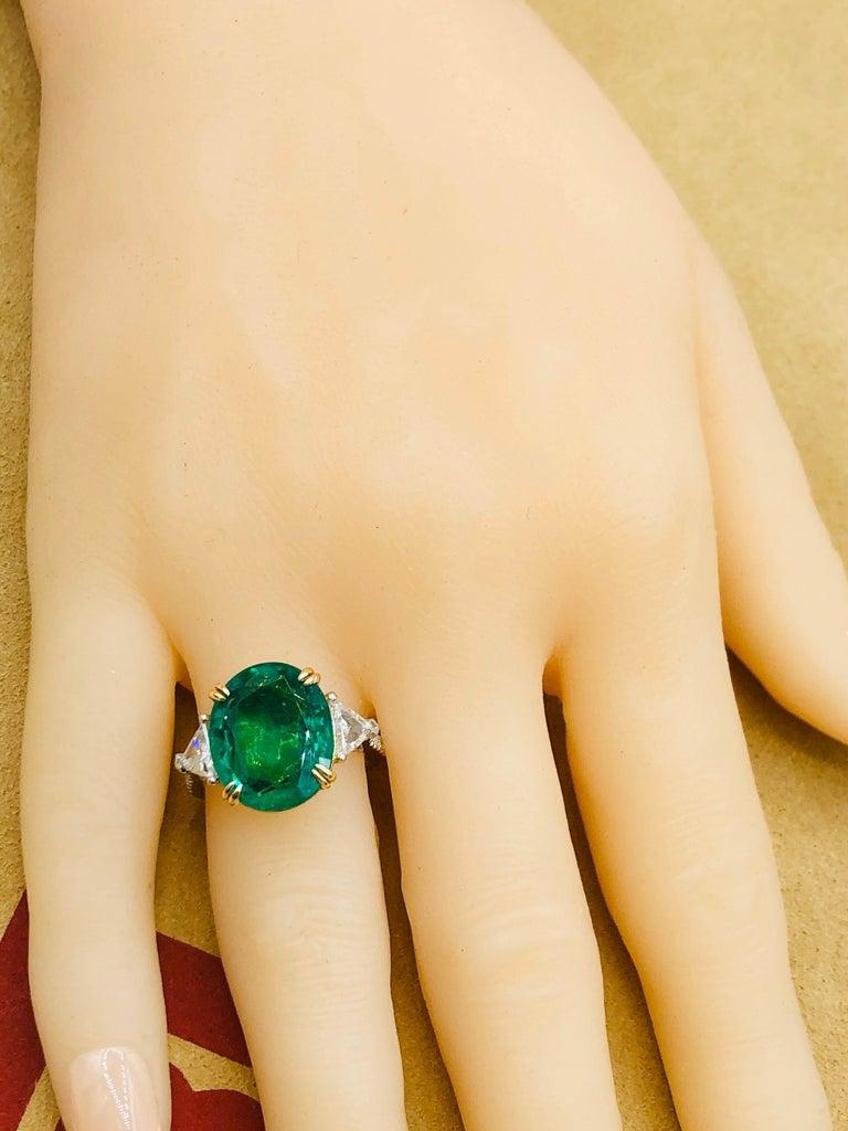 Emilio Jewelry 7.82 Carat Certified Emerald Diamond Ring For Sale 4