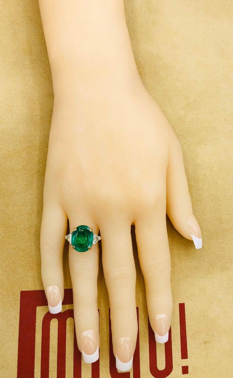 Emilio Jewelry 7.82 Carat Certified Emerald Diamond Ring For Sale 5