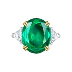 Emilio Jewelry 7.82 Carat Certified Emerald Diamond Ring