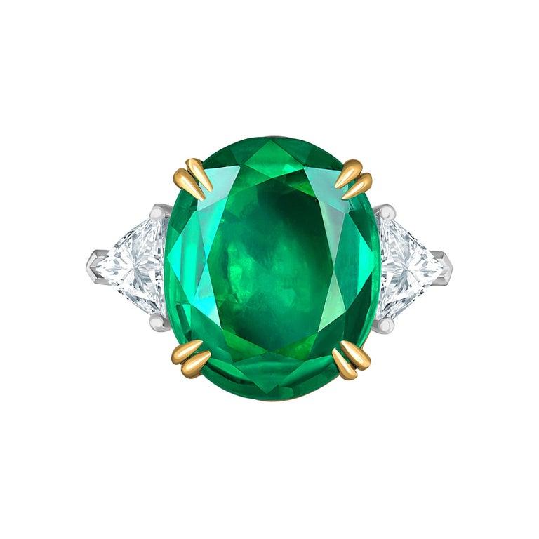 Emilio Jewelry 7.82 Carat Certified Emerald Diamond Ring For Sale