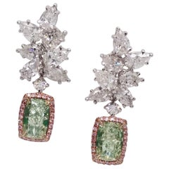 Emilio Jewelry 8.80 Carat GIA Certified Fancy Yellowish Green Diamond Earrings
