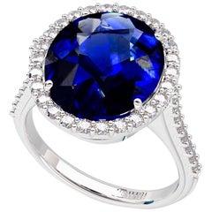 Emilio Jewelry 9.00 Carat Certified Ceylon Sapphire Diamond Ring
