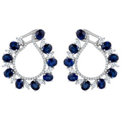 Emilio Jewelry 9.41 Carat Diamond Sapphire Earrings