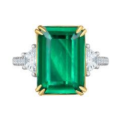 Emilio Jewelry 9.70 Carat Certified Emerald Diamond Ring