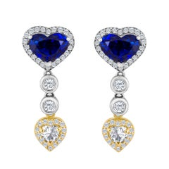 Emilio Jewelry 9.74 Carat Genuine Heart Shape Ceylon Sapphire Diamond Earrings