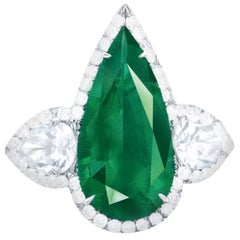 Emilio Jewelry AGL Certified 2.60 Carat No Oil Colombian Emerald Ring