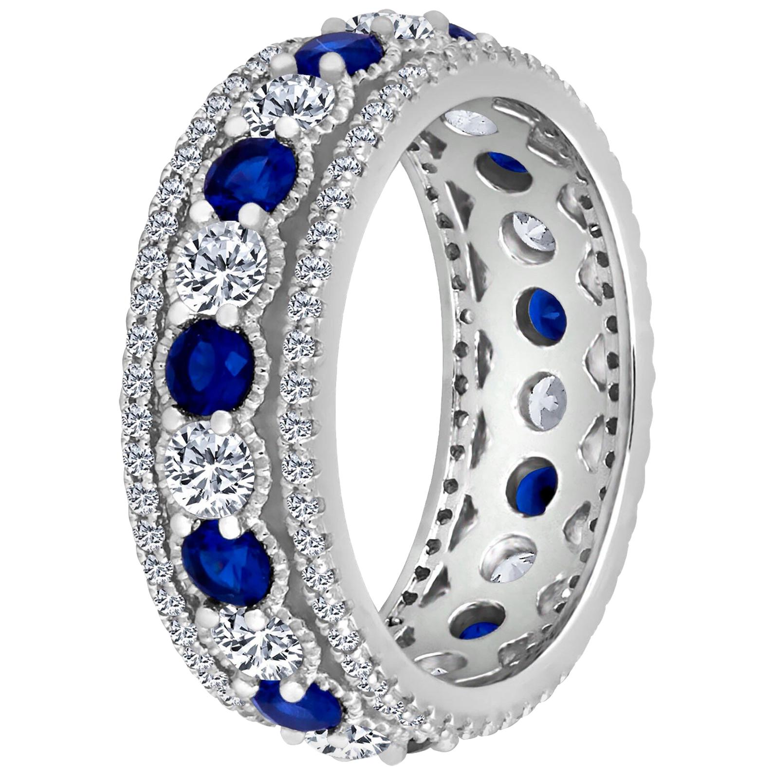 Emilio Jewelry Alternating Sapphire Diamond Platinum Eternity Band