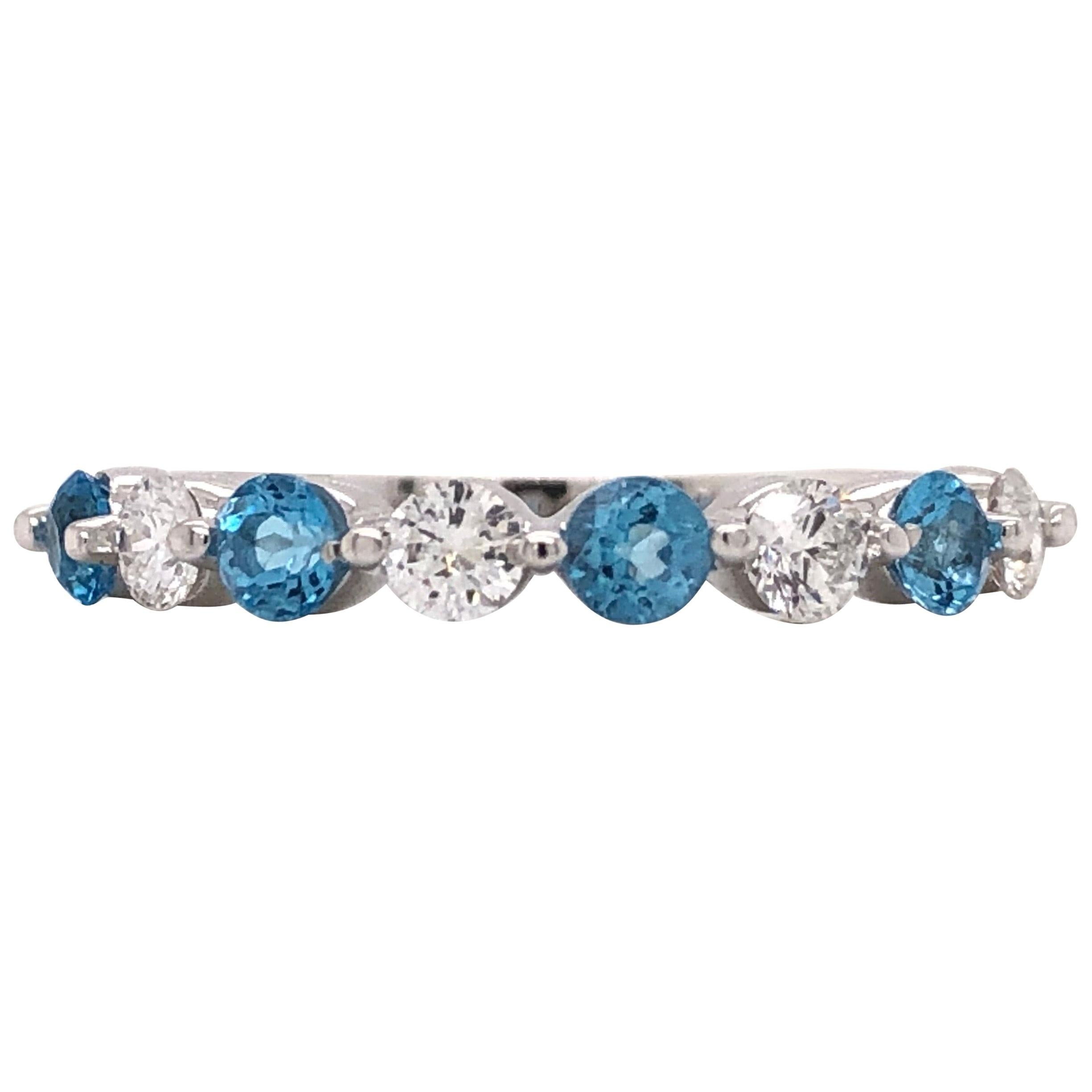 Emilio Jewelry Blue Topaz Diamond Band