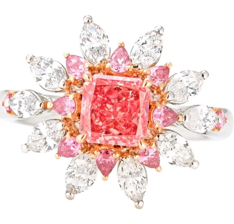 Emilio Jewelry Certified 1.00 Carat Argyle Pink Diamond In New Condition For Sale In New York, NY