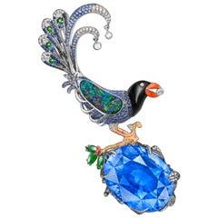 Emilio Jewelry Certified 102.00 Carat Unheated Sapphire Brooch