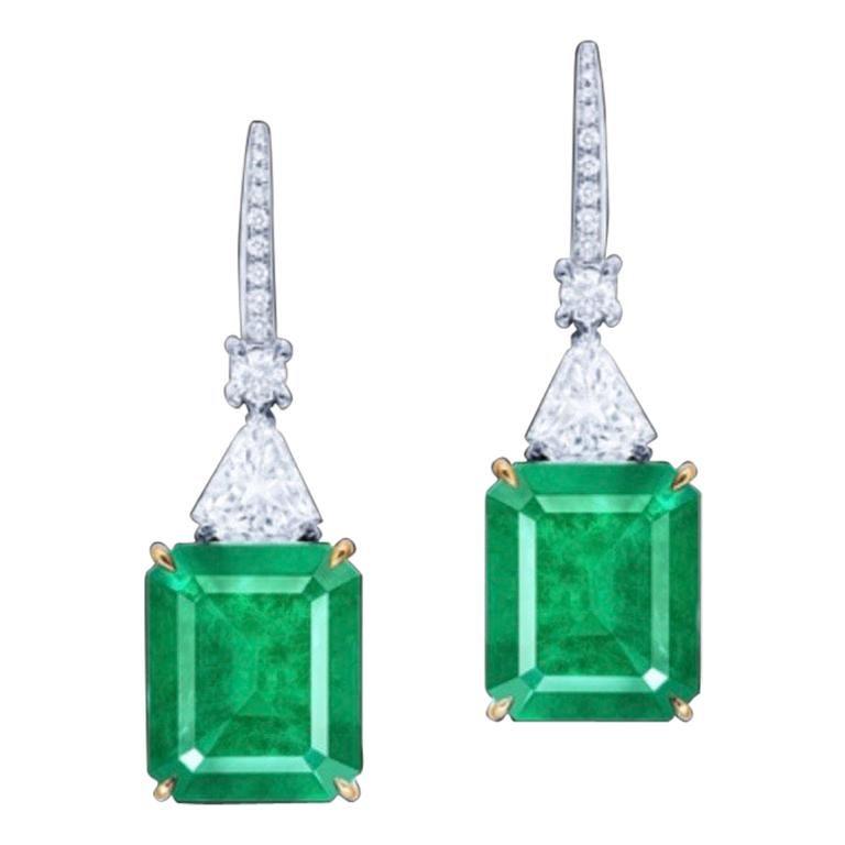Emilio Jewelry Certified 10.50 Carat No Oil Unenhanced Colombian Emerald Earring