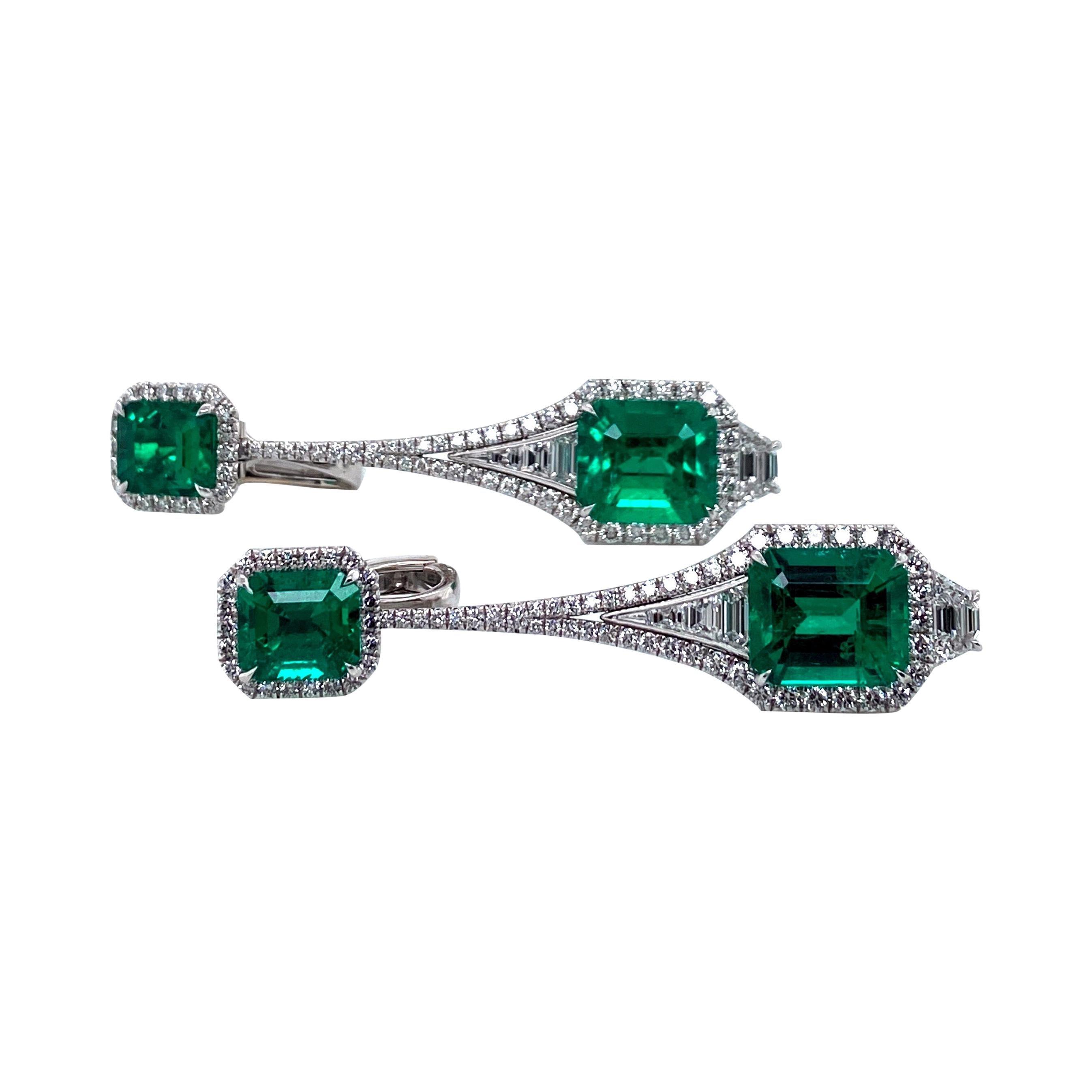 Emilio Jewelry Certified 12 Carat Colombian No Oil Muzo Vivid Green Earrings