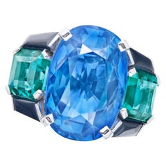 Emilio Jewelry Certified 15 Carat No Heat Sapphire Ring