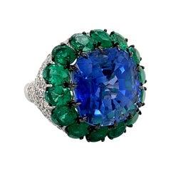 Emilio Jewelry Certified 17.00 Carat Untreated Burmese Sapphire Ring
