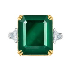 Emilio Jewelry Certified 17.03 Carat Emerald Diamond Ring