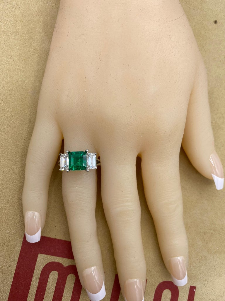 Emerald Cut Emilio Jewelry Certified 2.28 Carat No Oil Untreated Colombian Emerald Ring For Sale