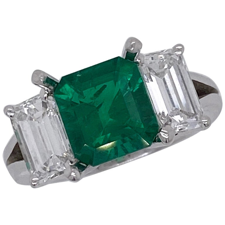 Emilio Jewelry Certified 2.28 Carat No Oil Untreated Colombian Emerald Ring For Sale