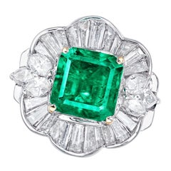 Emilio Jewelry Certified 2.35 Carat Vivid Green Muzo Colombian Emerald Ring