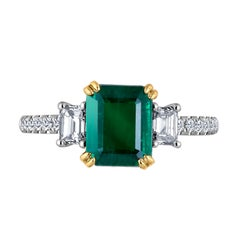 Emilio Jewelry Certified 2.42 Carat Genuine Emerald Diamond Platinum Ring
