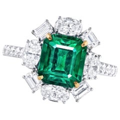 Emilio Jewelry Certified 2.69 Carat Untreated No Oil Emerald Diamond Ring