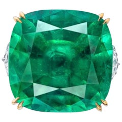 Emilio Jewelry Certified 27.00 Carat Untreated No Oil Emerald Ring