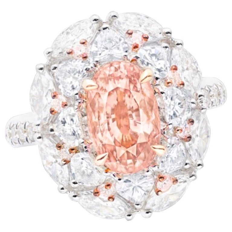 Emilio Jewelry Certified 3.00 Carat Unheated Padparascha Diamond Ring For Sale