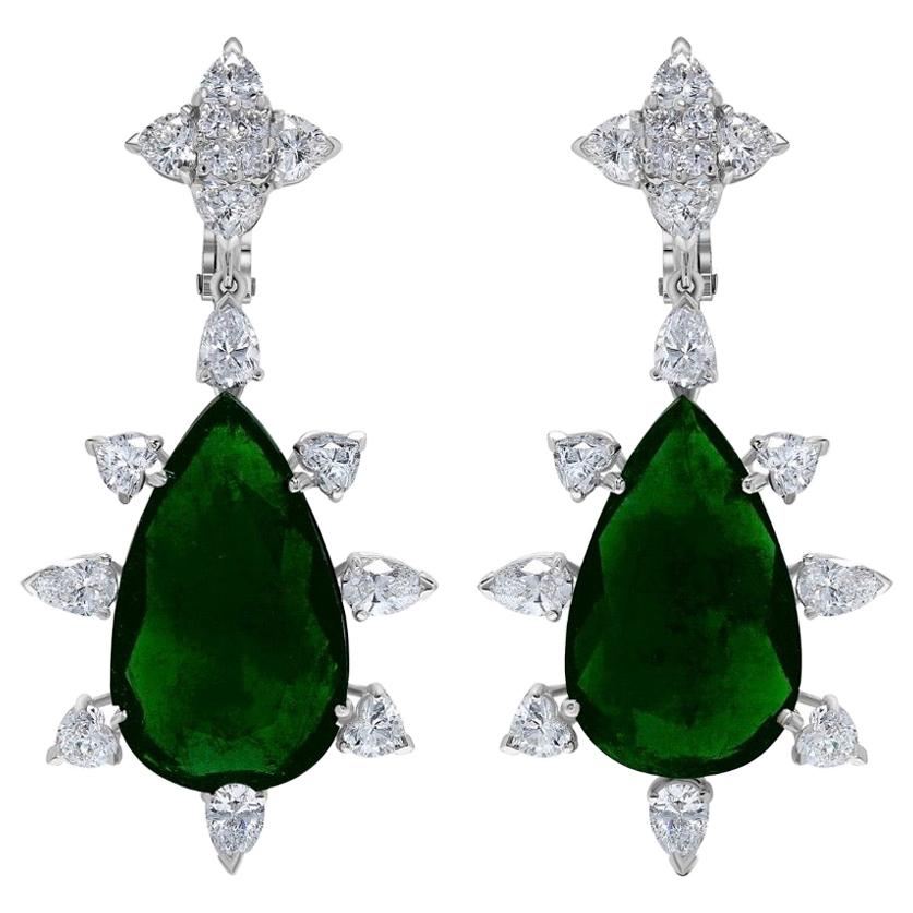 Emilio Jewelry Certified 33 Carat Colombian Emerald Diamond Earrings