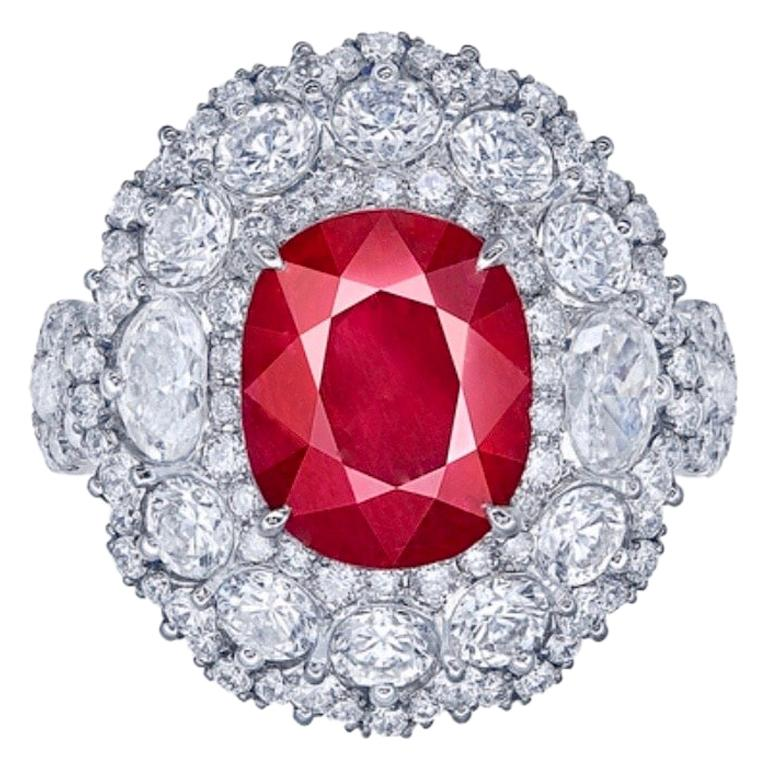 Emilio Jewelry Certified 3.80 Carat Vivid Red Pigeon Blood Ruby Ring
