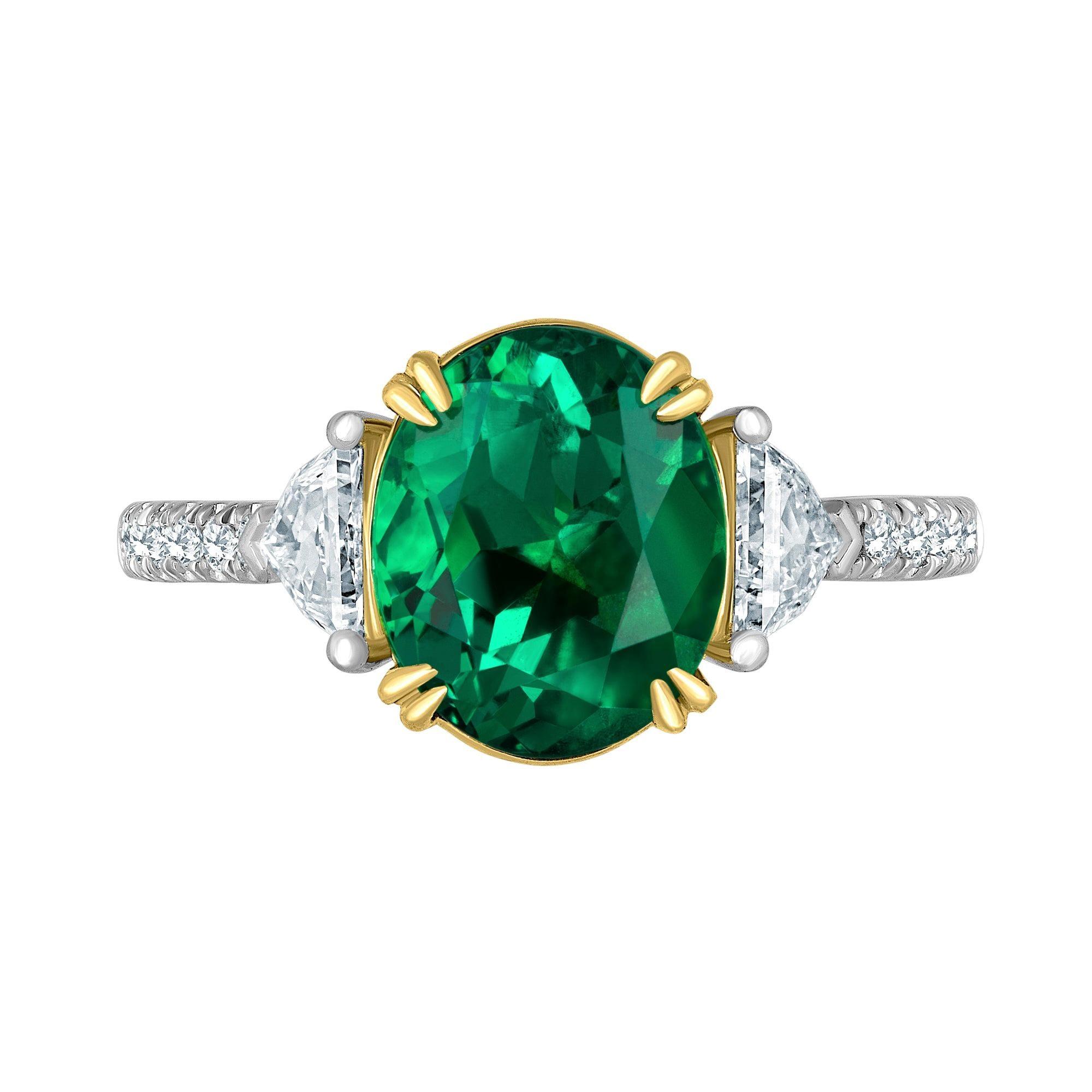 Emilio Jewelry Certified 3.82 Carat Colombian Emerald Diamond Ring