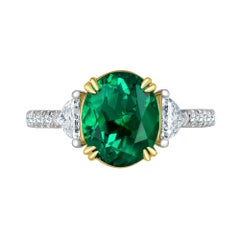 Emilio Jewelry Certified 3.82 Carat Colombian Emerald Diamond Ring