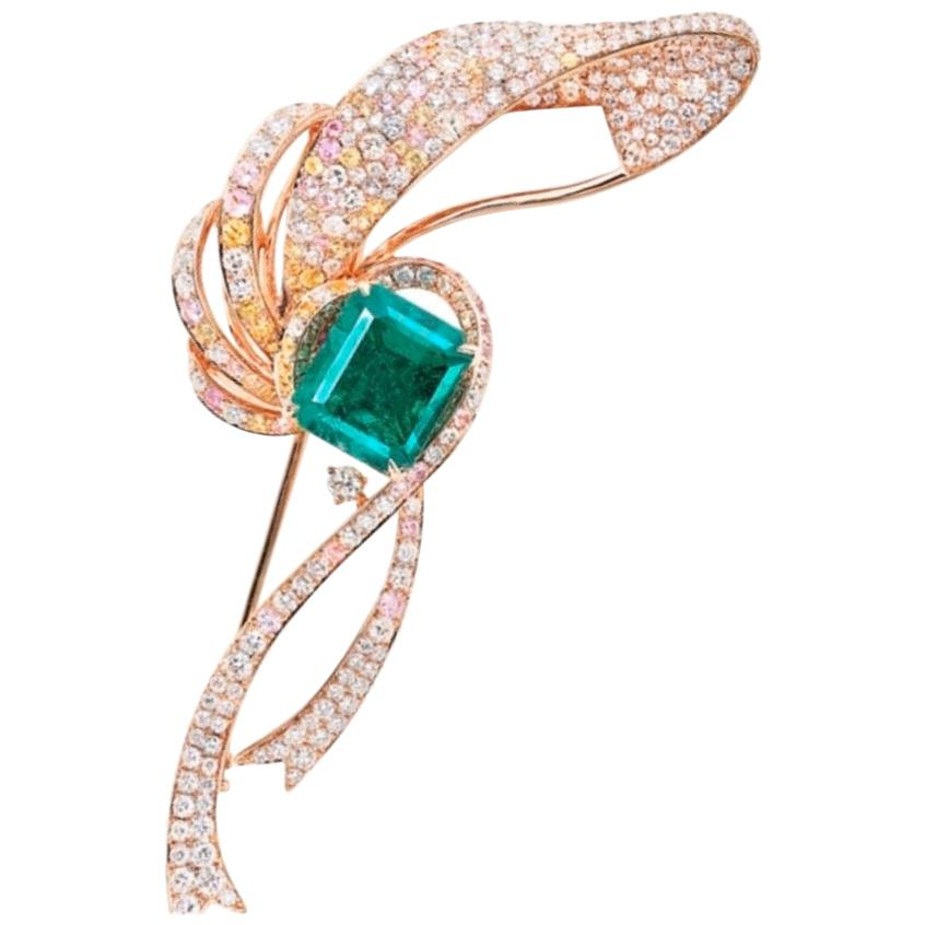 Emilio Jewelry Certified 4 Carat Untreated No Oil Muzo Colombian Emerald Brooch