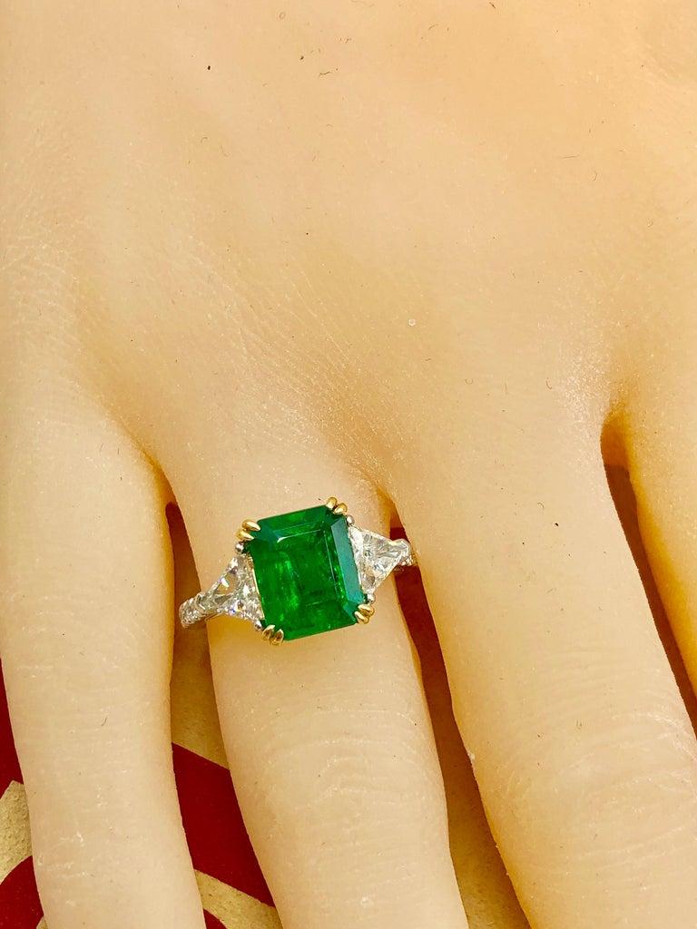 Emilio Jewelry Certified 4.10 Carat Emerald Diamond Platinum Ring For Sale 8