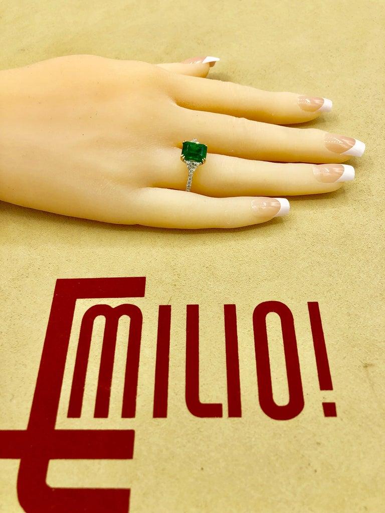 Emilio Jewelry Certified 4.10 Carat Emerald Diamond Platinum Ring For Sale 9