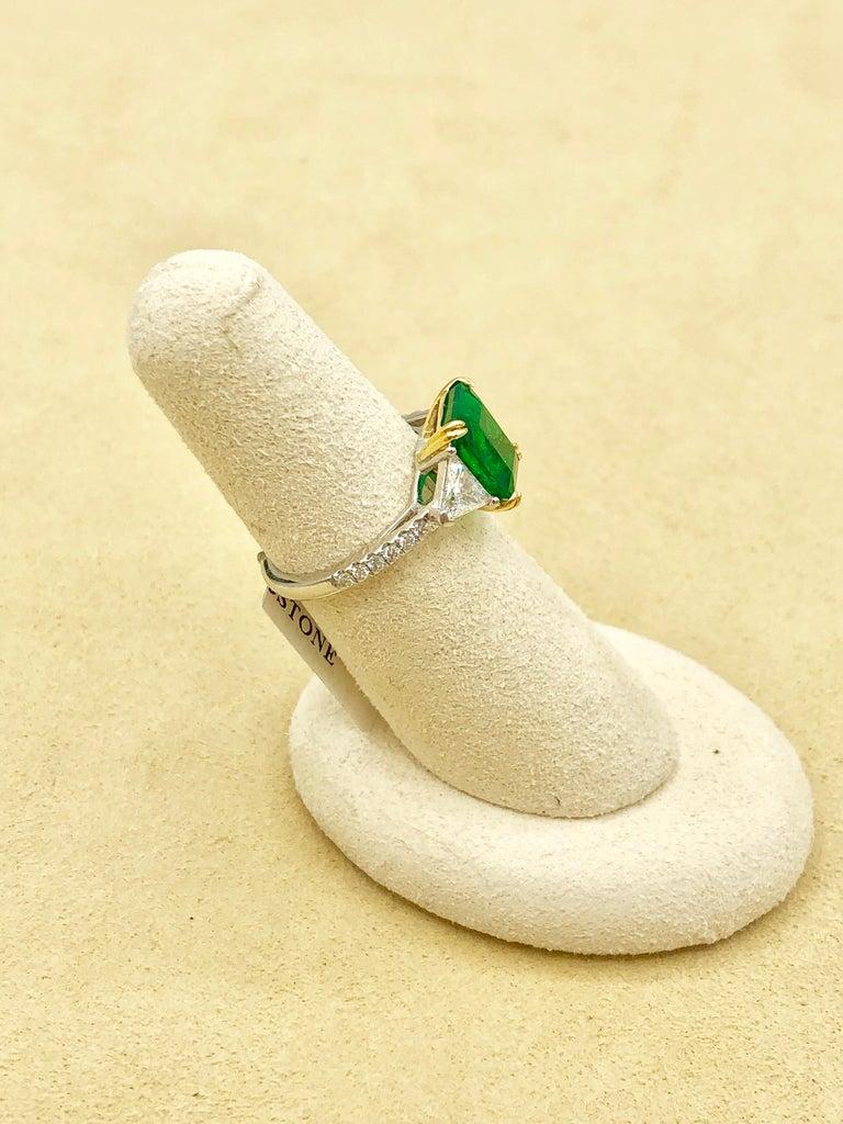 Emilio Jewelry Certified 4.10 Carat Emerald Diamond Platinum Ring For Sale 13