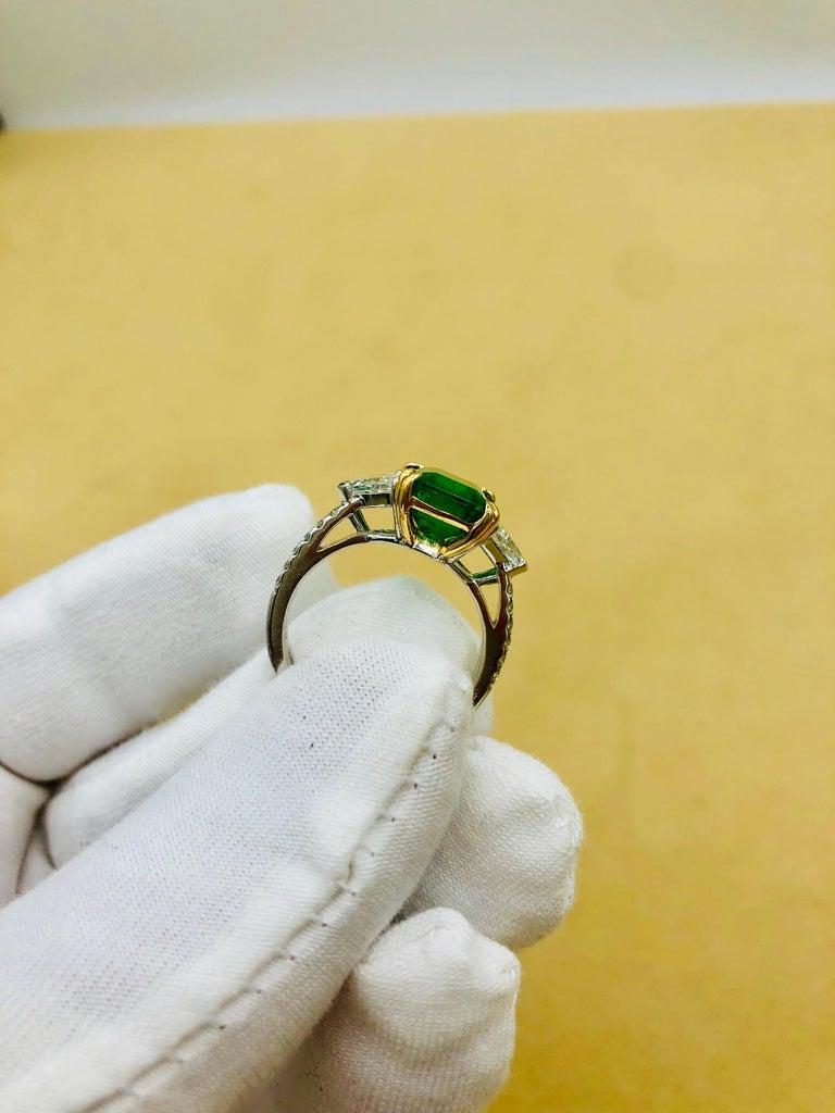 Emilio Jewelry Certified 4.10 Carat Emerald Diamond Platinum Ring For Sale 14