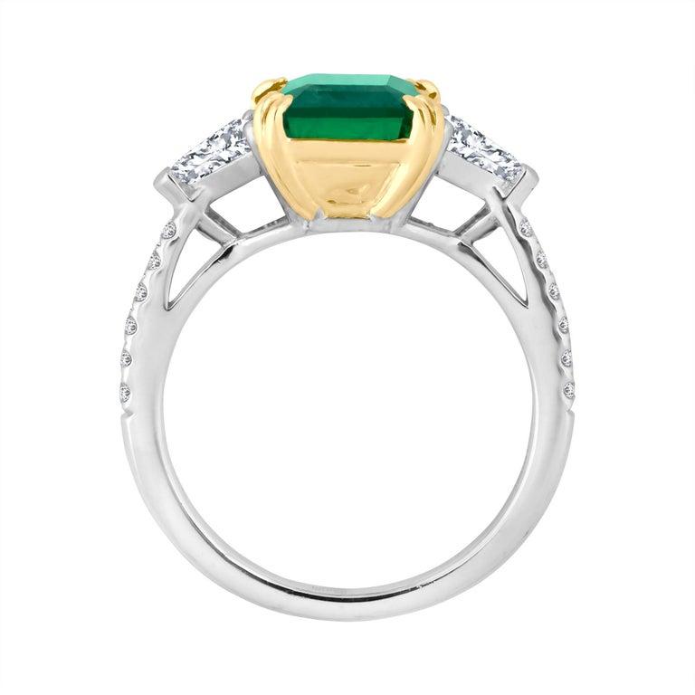 Emilio Jewelry Certified 4.10 Carat Emerald Diamond Platinum Ring For Sale 2