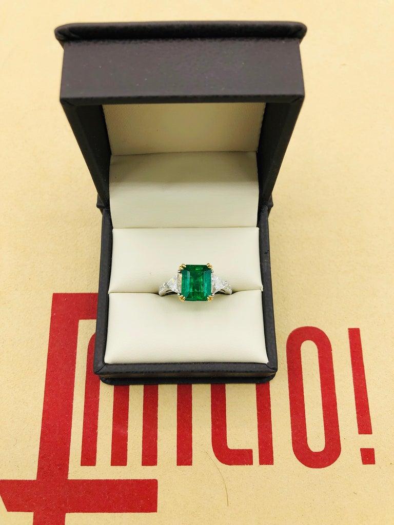 Emilio Jewelry Certified 4.10 Carat Emerald Diamond Platinum Ring For Sale 3