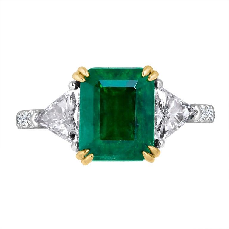 Emilio Jewelry Certified 4.10 Carat Emerald Diamond Platinum Ring For Sale